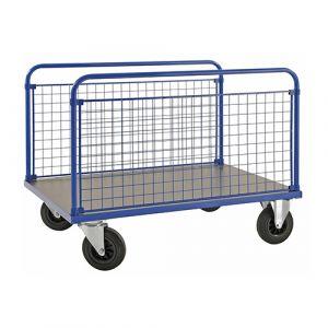 Chariot plateforme - 2 ridelles - côté long - bleu - avec frein - L= 1200 mm - 500 kg