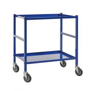 Chariot service 2 tablettes pour bacs - bleu - avec freins
