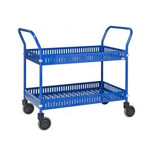 Chariot de service avec paniers -bleu- avec frein - L=1130 mm - 250 kg