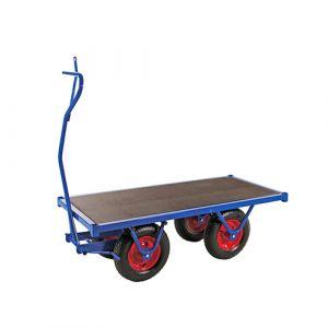 Chariot charge lourde - bleu - avec frein - L=3000 mm - 1500 kg