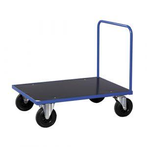 Chariot plateforme 1 poignée - bleu - avec frein - L= 1200 mm - 500 kg