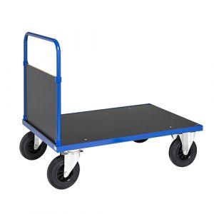 Chariot plateforme 1 côté - bleu - avec frein - L= 1200 mm - 500 kg