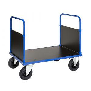 Chariot plateforme avec 2 côtés - bleu- avec frein - L= 1200 mm - 500 kg