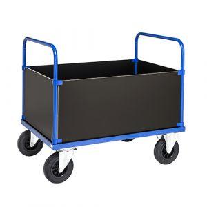 Chariot avec 2 poignées et 4 côtés - bleu - avec frein - L = 1000 mm - 500 kg