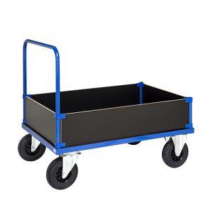 Chariot plateforme avec 1 poignée et 4 côtés - bleu - avec frein - L= 1200 mm - 500 kg