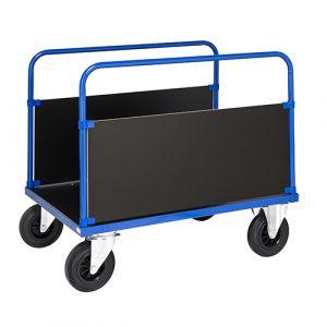 Chariot 2 poignées et 2 côtés - bleu - avec frein  - L= 1200 mm - 500 kg