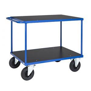 Chariot avec 1 étagère - bleu - avec frein - L= 1300 mm - 500 kg