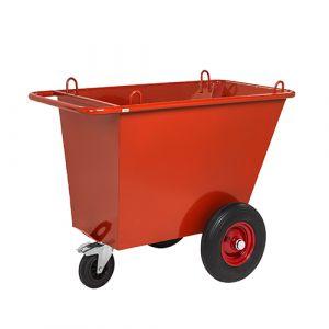 Chariot à dechet  - rouge - avec frein - L= 1310 mm - 400 L - 750 kg