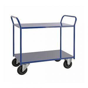 Chariot de service soudé bleu  - avec frein