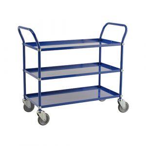 Chariot de service 3 tablettes - bleu - sans frein - L= 1070 mm - 250 kg