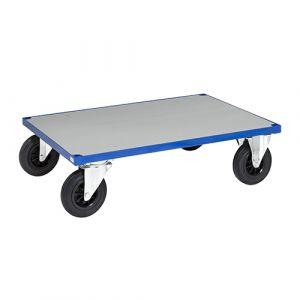 Plateau roulant - bleu - avec frein  - L= 1200 mm - 500 kg