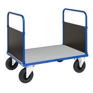 Chariot plateforme 2 poignées - bleu - avec frein - L= 1070 mm - 250 kg