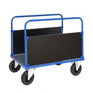 Chariot plateforme 2 poignées - bleu - sans frein - L= 1200 mm - 500 kg