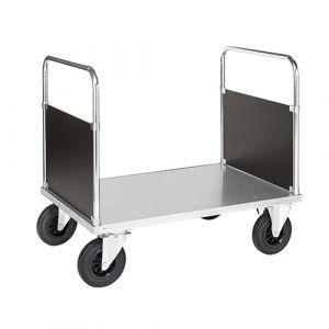 Chariot plateforme 2 poignées - galva - avec frein - L=1200 mm - 500 kg