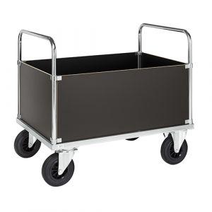 Chariot plateforme avec 2 poignées et 4 côtés verticaux - galva - avec  frein - L=1200 mm - 500 kg