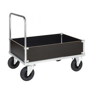 Chariot plateforme avec 2 poignées et 4 côtés verticaux -galva- avec frein - L=1200 mm  500 kg
