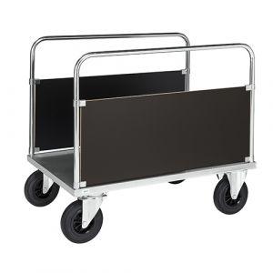Chariot 2 panneaux verticaux côté long - galva - avec frein - L=1200 mm - 500 kg