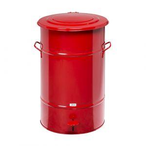 Poubelle rétro galvanisée rouge - 70 L