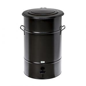 Poubelle rétro  galvanisée noire - 70 L