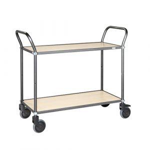 Chariot de service soudé - gris anthracite/bouleau- sans frein - L=1100 mm - 250 kg