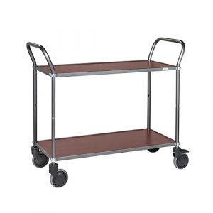Chariot de service soudé - gris anthracite/acajou - sans frein - L=1100 mm - 250 kg