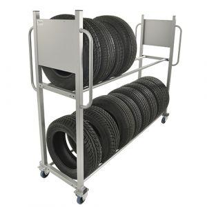 Support mobile pour stockage de pneumatiques - gris - sans frein - L=2030 mm - 300 kg