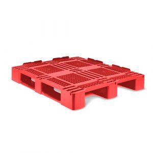 Palette Plastique rouge plateau ajourée 3 semelles
