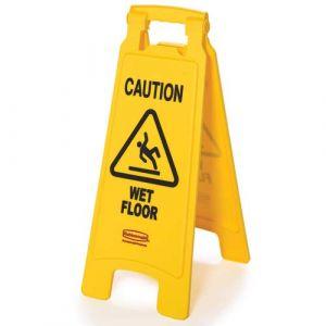 "Panneau d'avertissement 2 côtés ""Caution Wet Floor"""