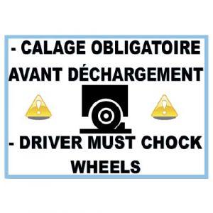 """Panneau """"cale de roue obligatoire"""" PVC 300X400 mm"""