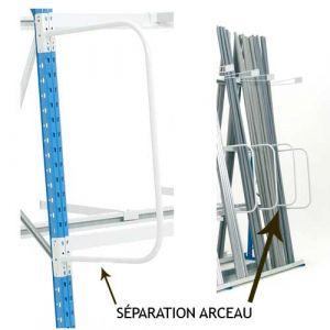 Séparation arceau extrémité gauche pour rayonnages charges longues
