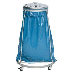 Support sac poubelle mobile un flux - acier galvanisé -110 litres